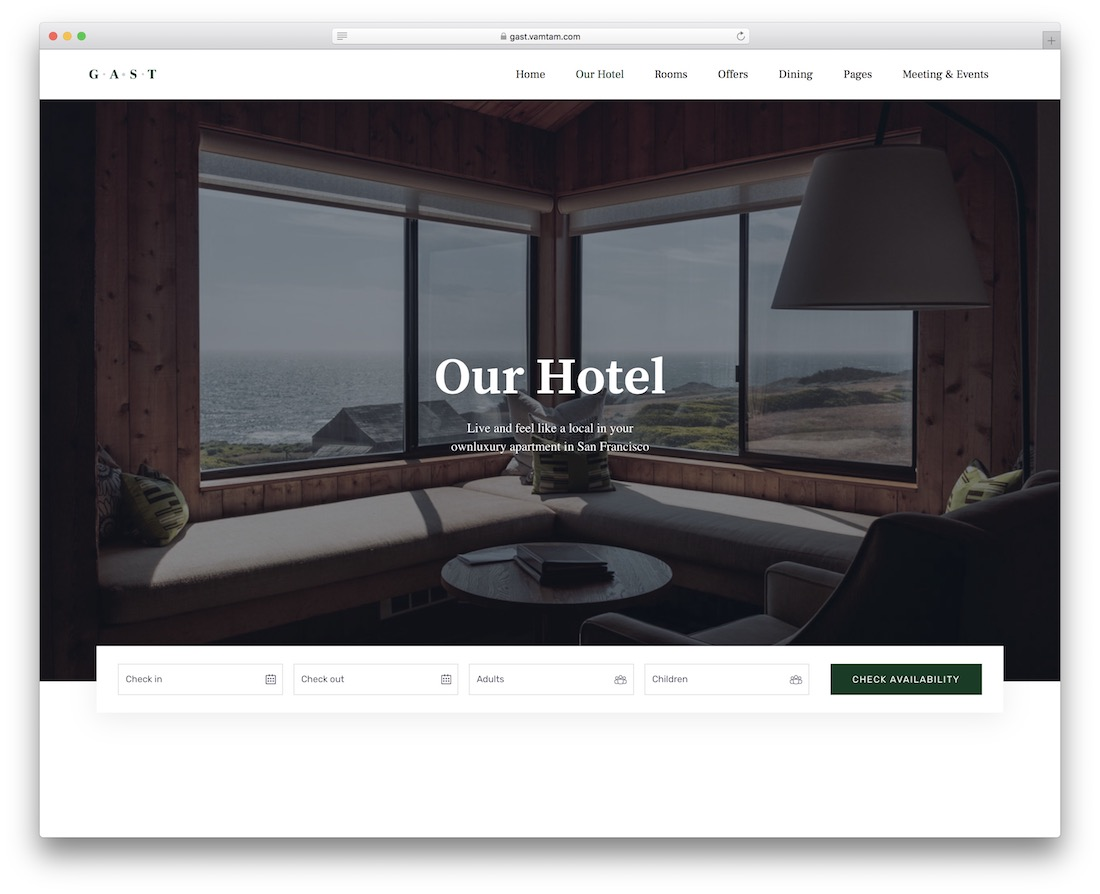gast hotel website template