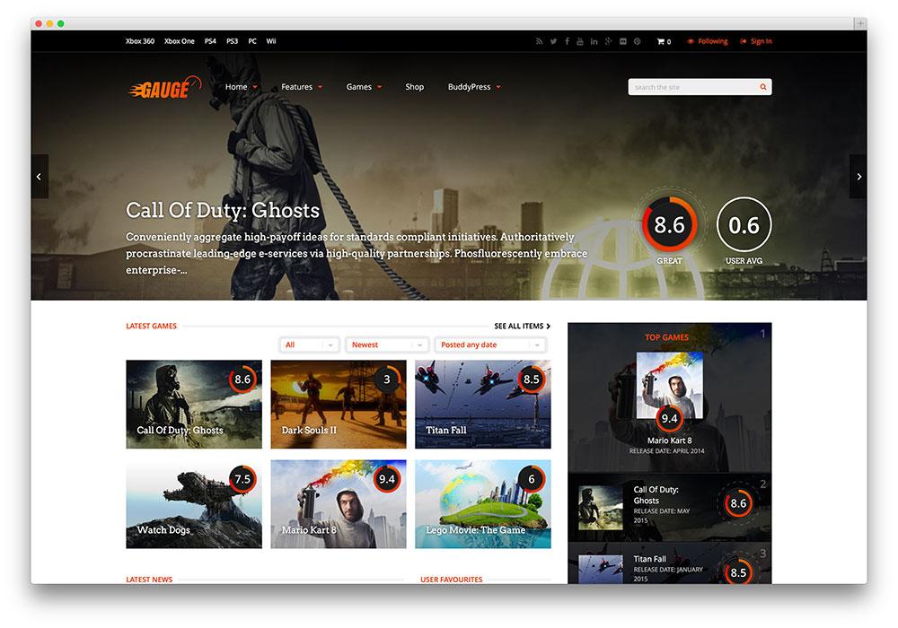 gauge - dark style gaming theme