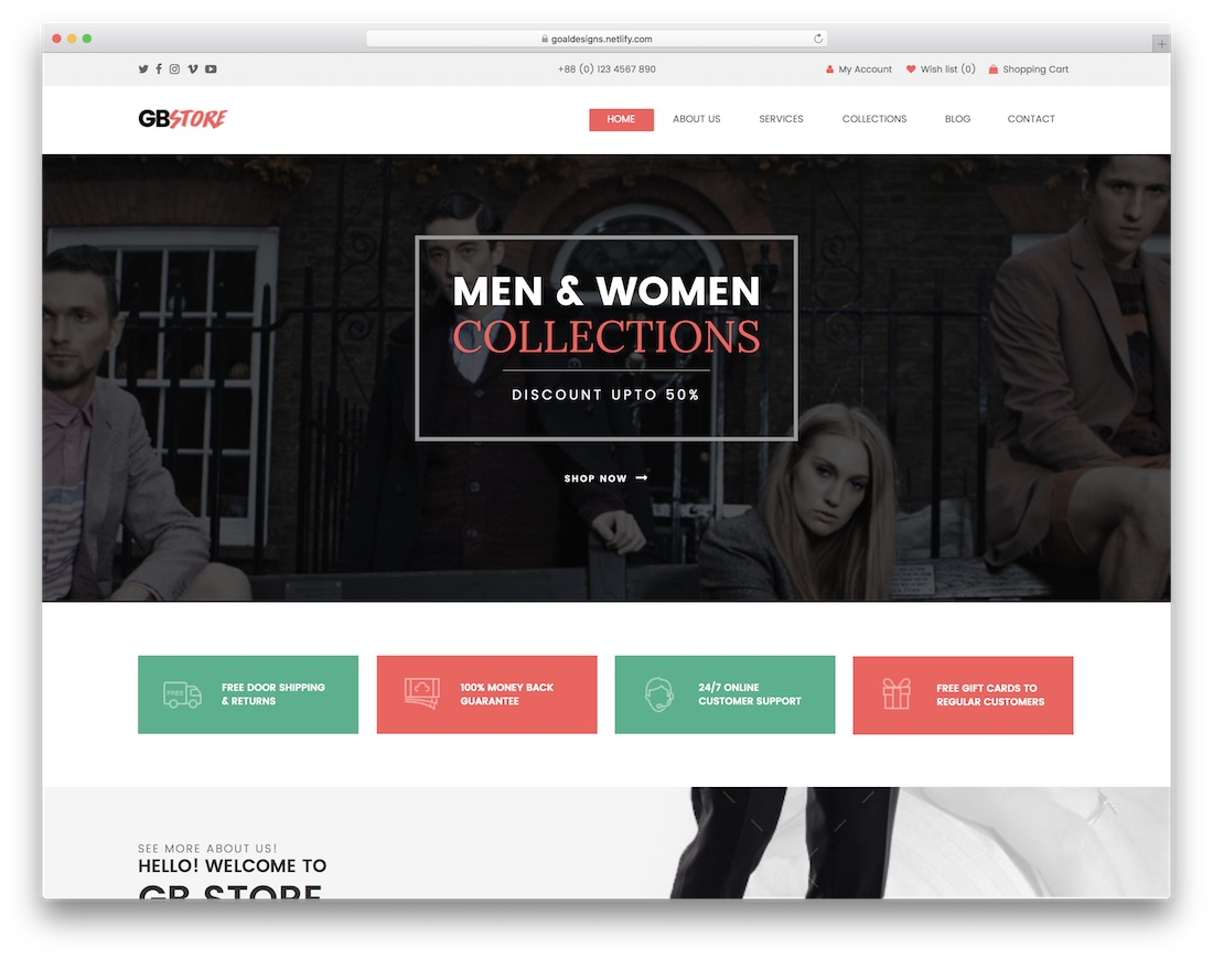 gb store ecommerce adobe muse template