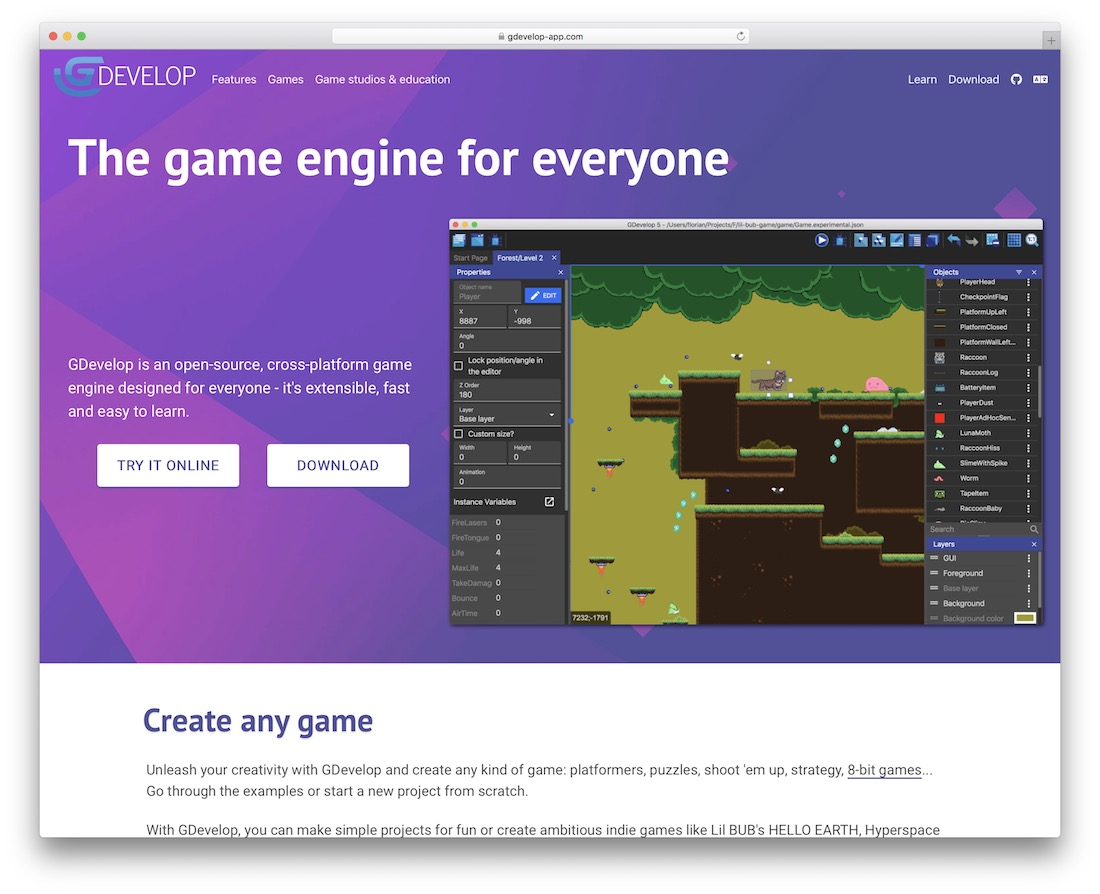 gdevelop javascript engine for building games