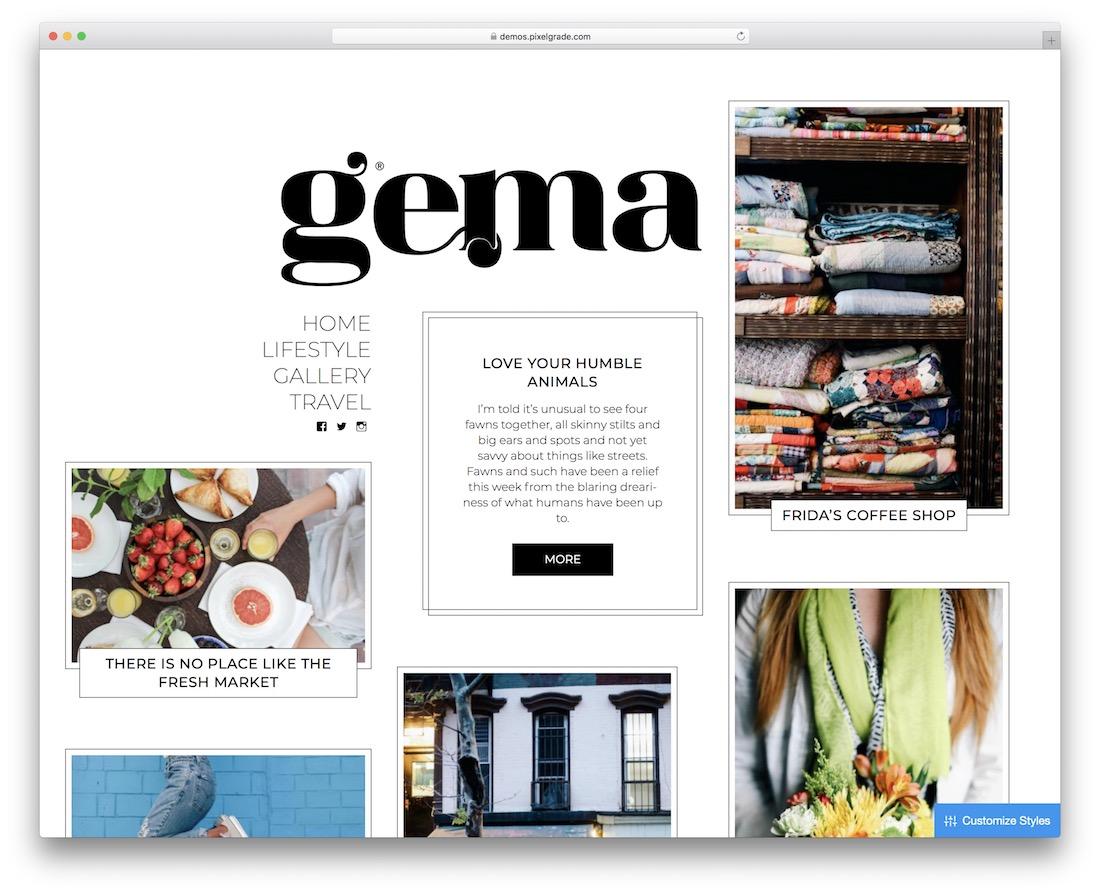 gema pinterest style wordpress theme