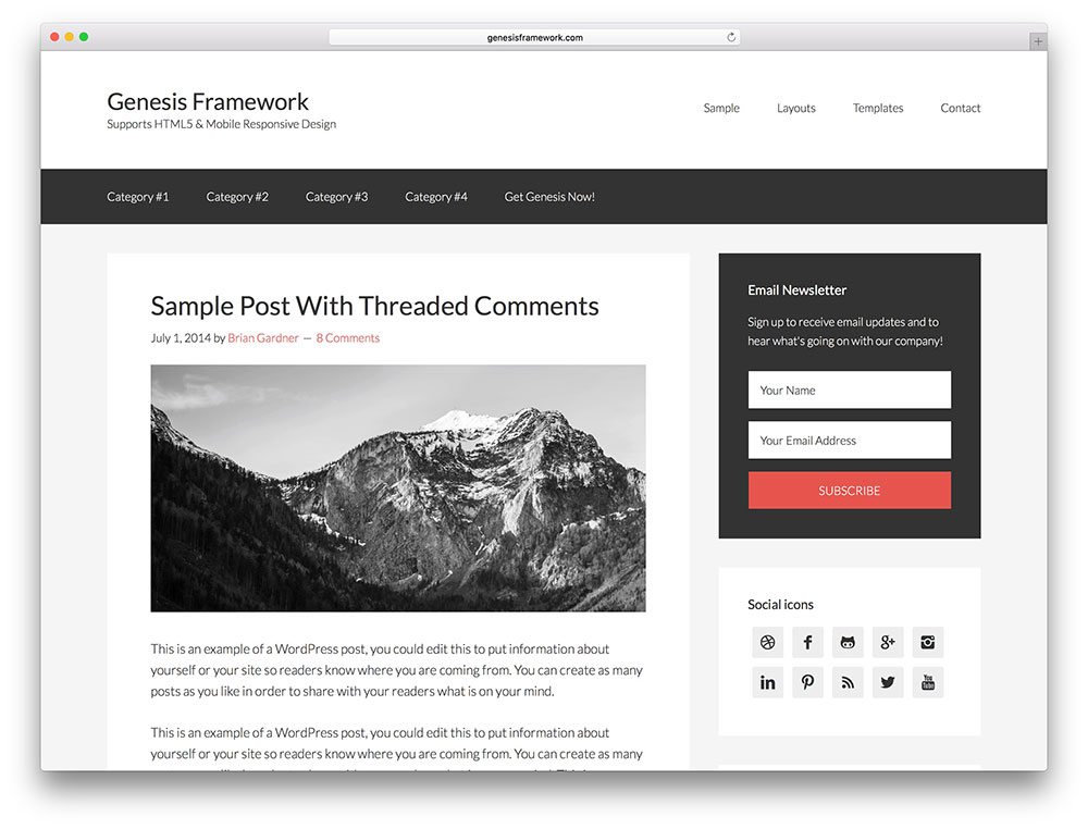 genesis framework - most popular marketer theme