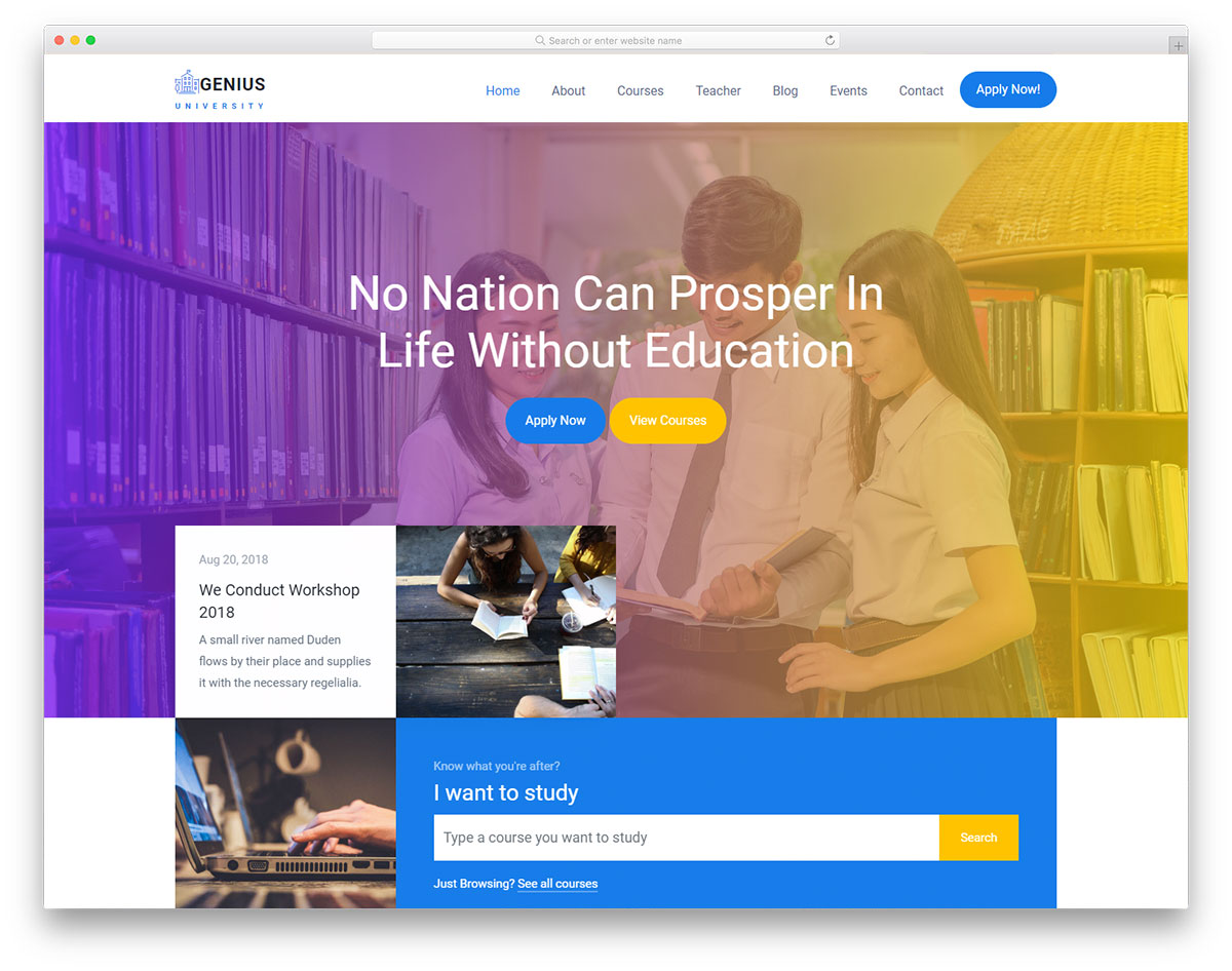 genius free educational website template 2018 colorlib