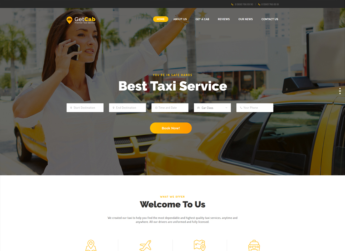 GetCab - Online Taxi Service WordPress Theme