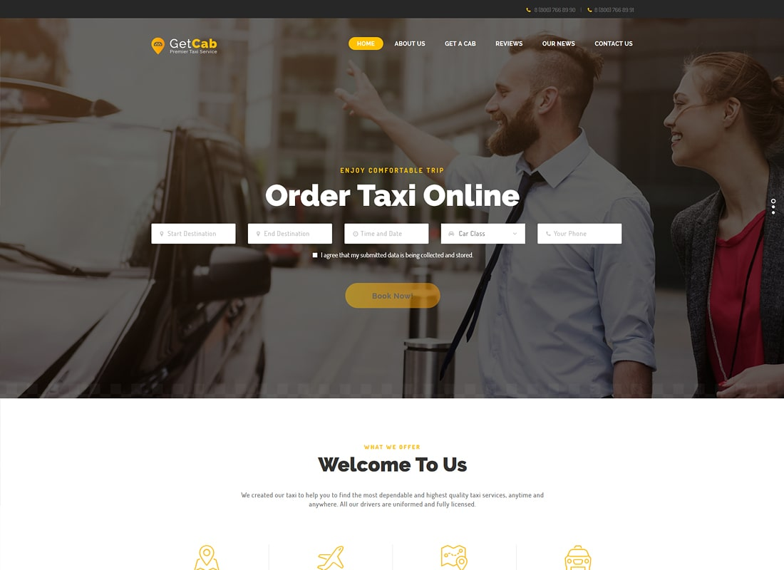 GetCab | Online Taxi Service WordPress Theme