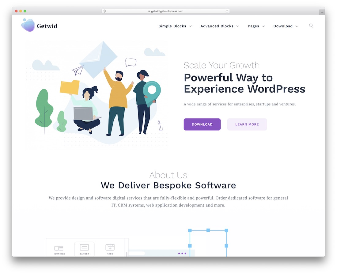 getwid base free flat design wordpress theme