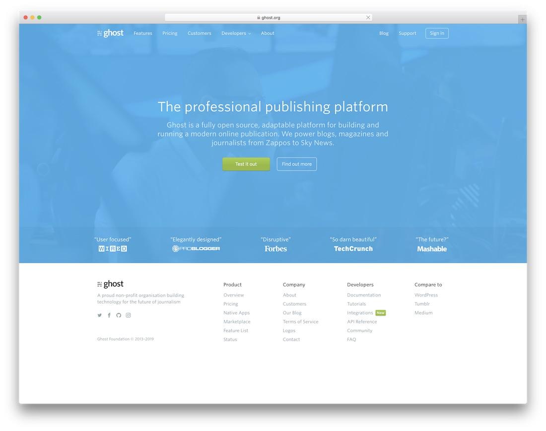 ghost website builder for seo