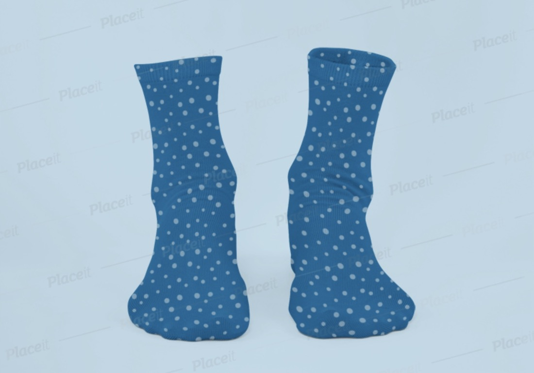 ghosted mockup of a pair of sublimated socks with customizable background