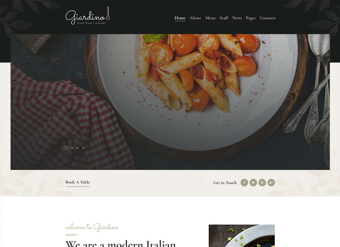 Giardino - An Italian Restaurant & Cafe WordPress Theme