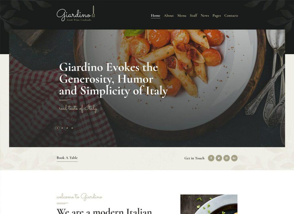 Giardino   An Italian Restaurant & Cafe WordPress Theme