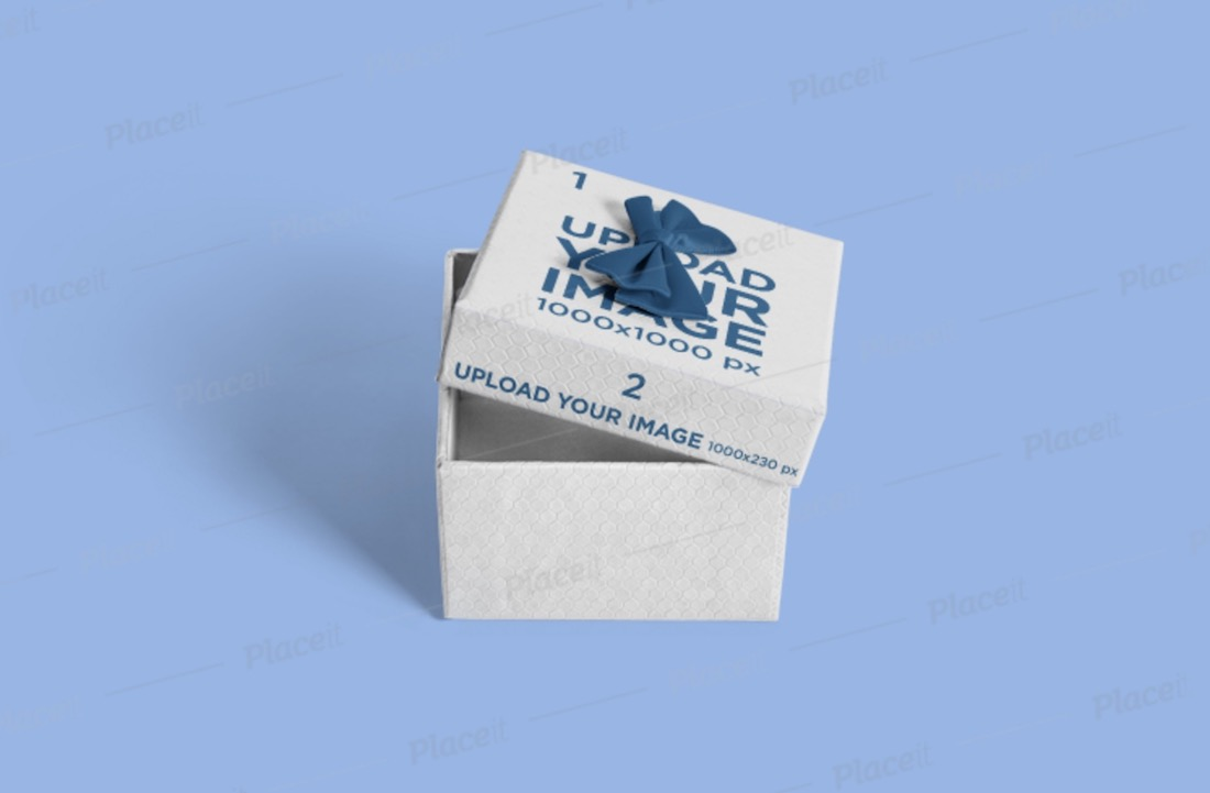 gift box mockup with a colored backdrop