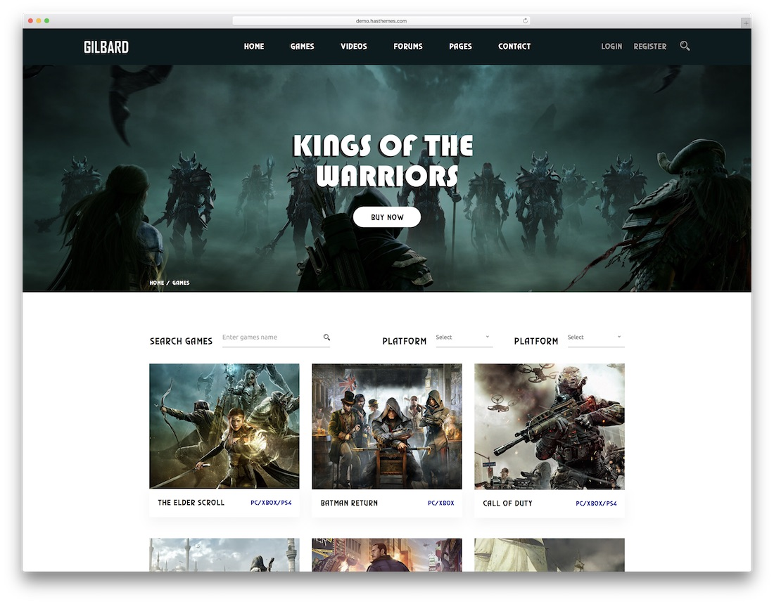 gilbard gaming html website template