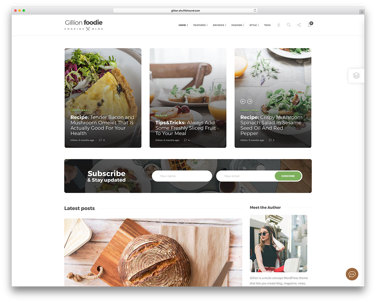 Food recipe blog WordPress theme