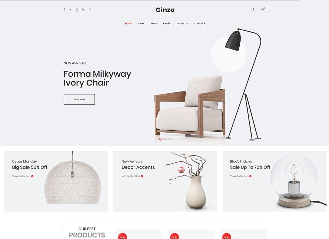 Ginza | Furniture Theme for WooCommerce WordPress Theme
