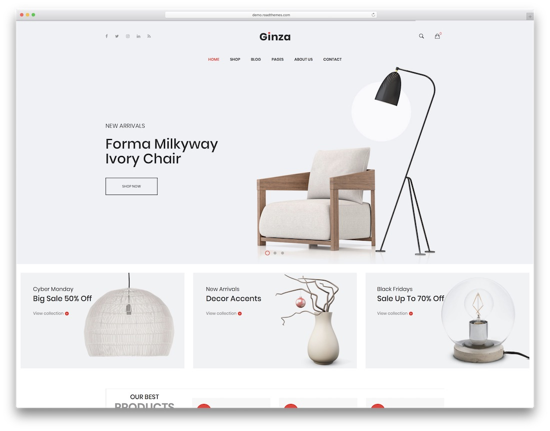 ginza furniture wordpress theme