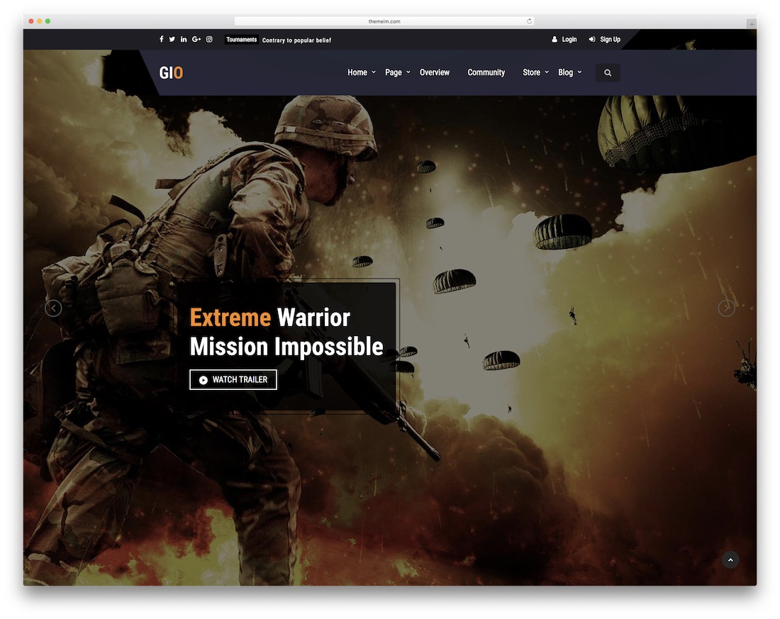 gio gaming portal html website template