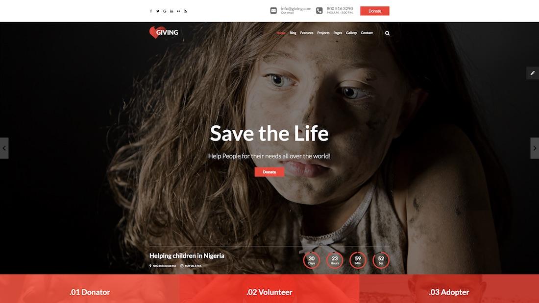 giving website template