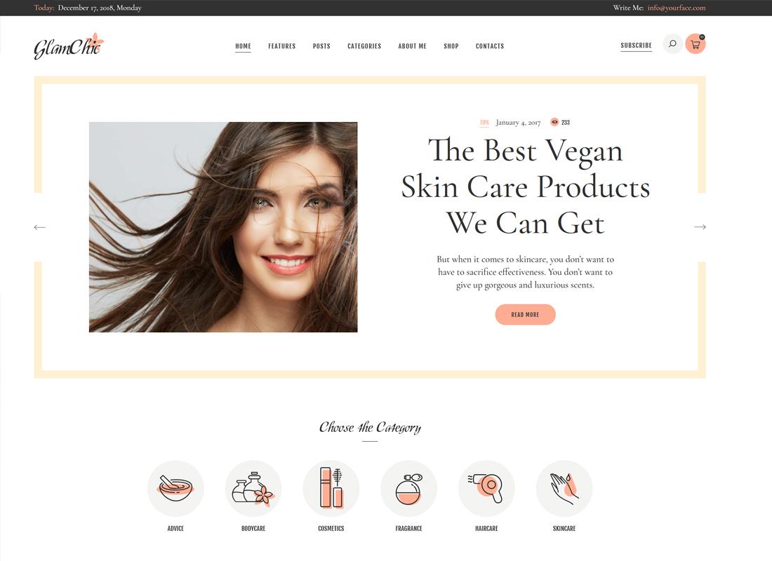 GlamChic - Beauty Blog & Online Magazine WordPress Theme