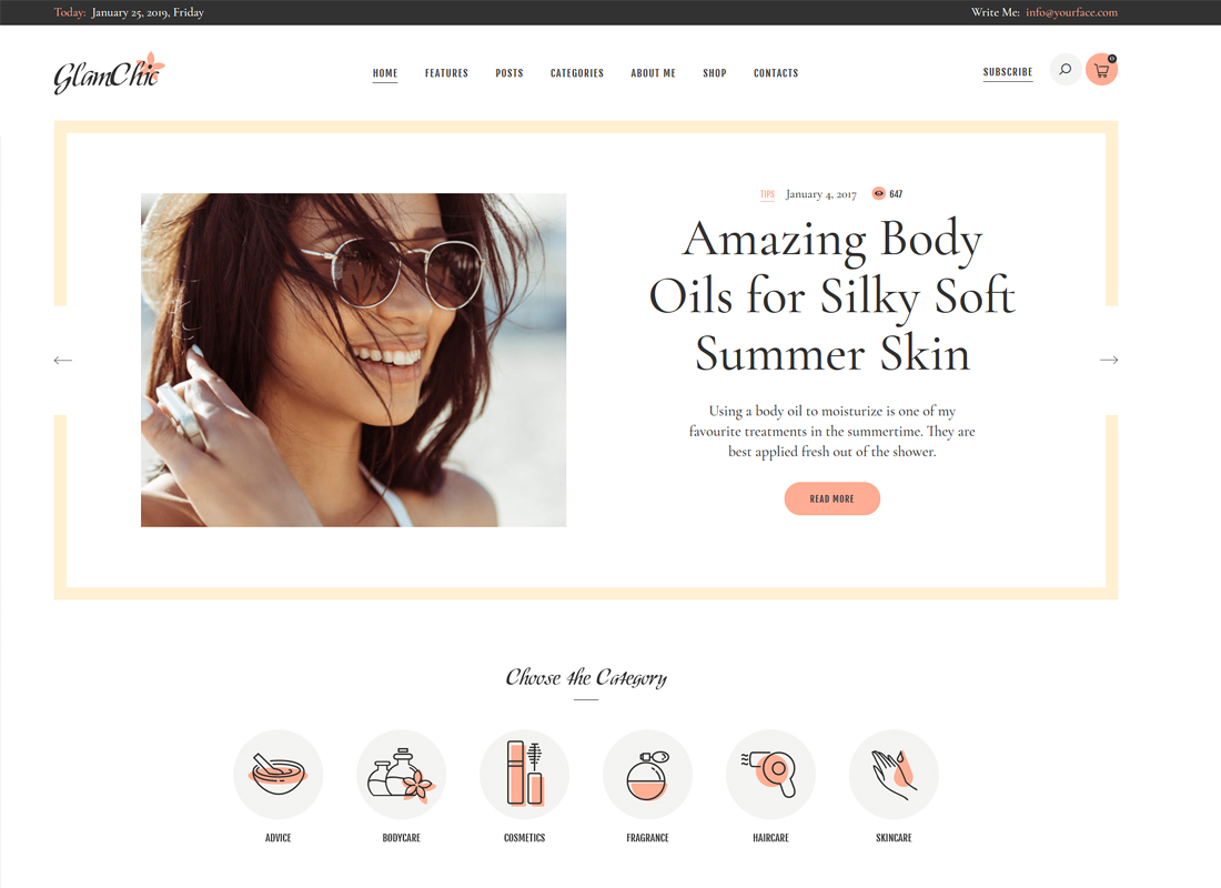 GlamChic | Beauty Blog & Online Magazine WordPress Theme