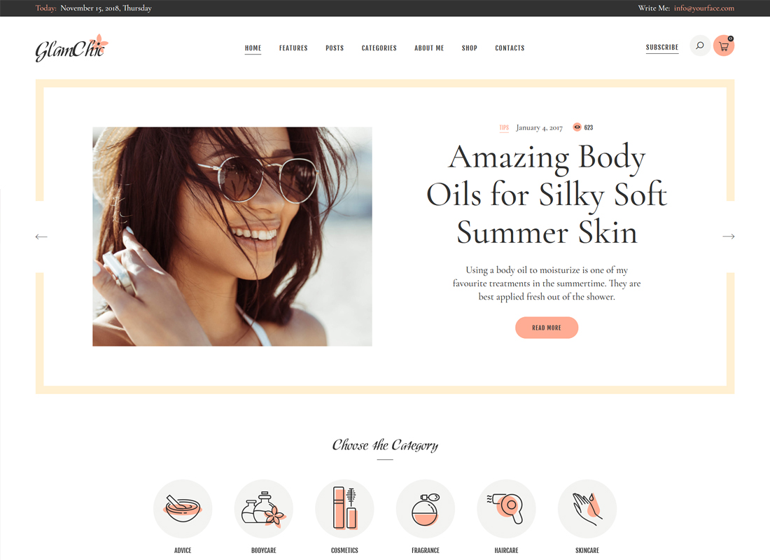 GlamChic - Beauty Blog & Online Magazine WordPress Theme