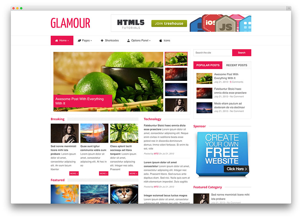 glamour techonology news theme