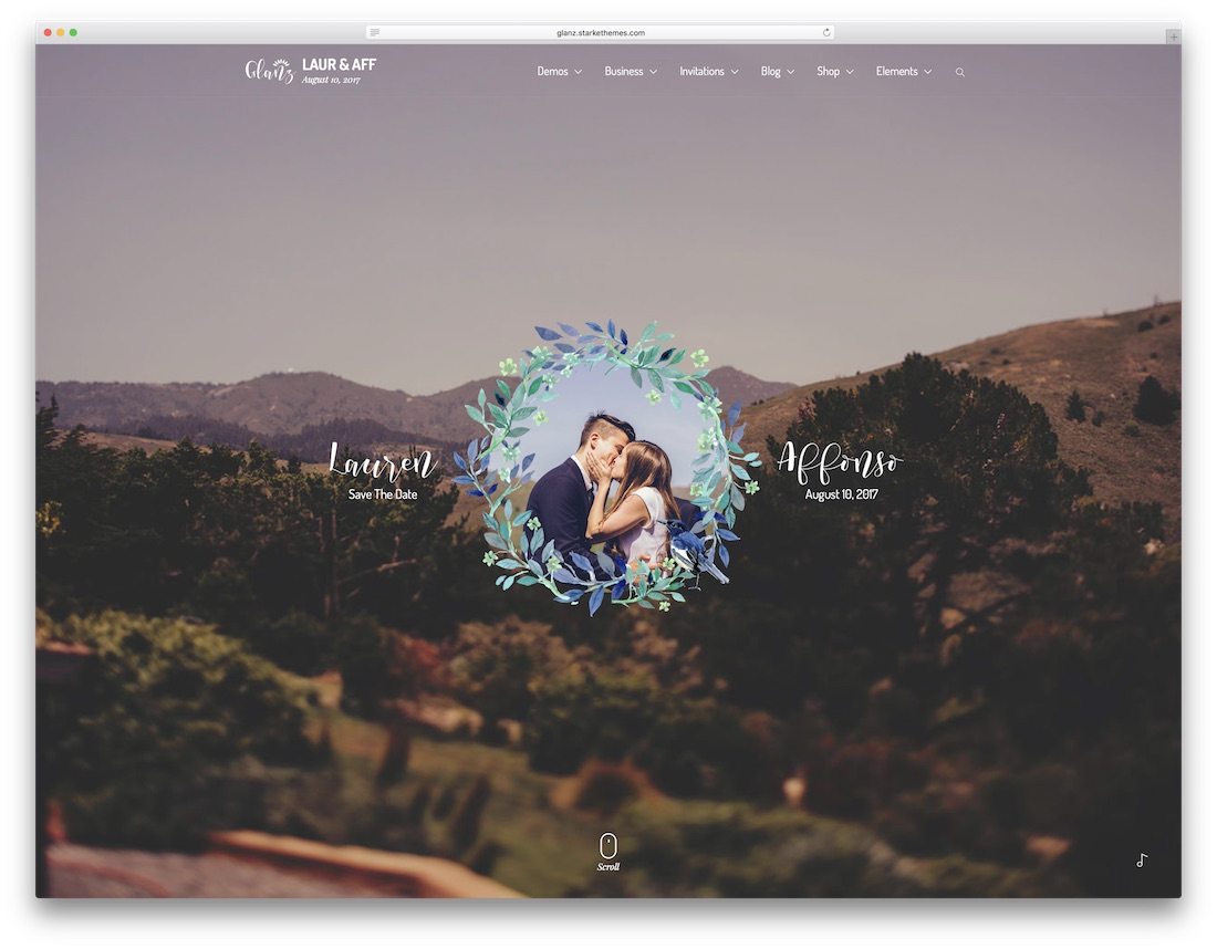 glanz HTML wedding website template