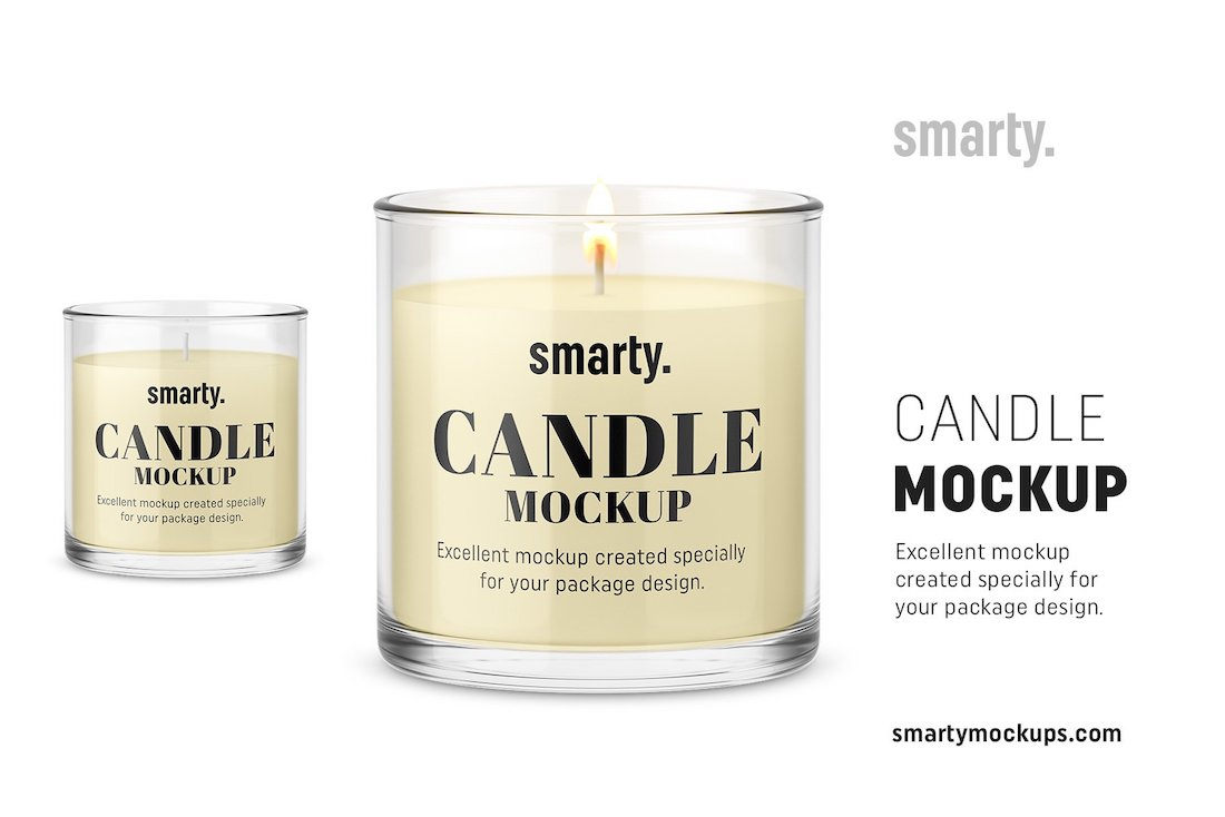 glass candle mockup