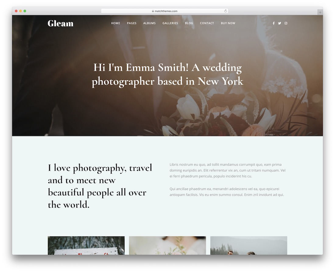 gleam photography website template