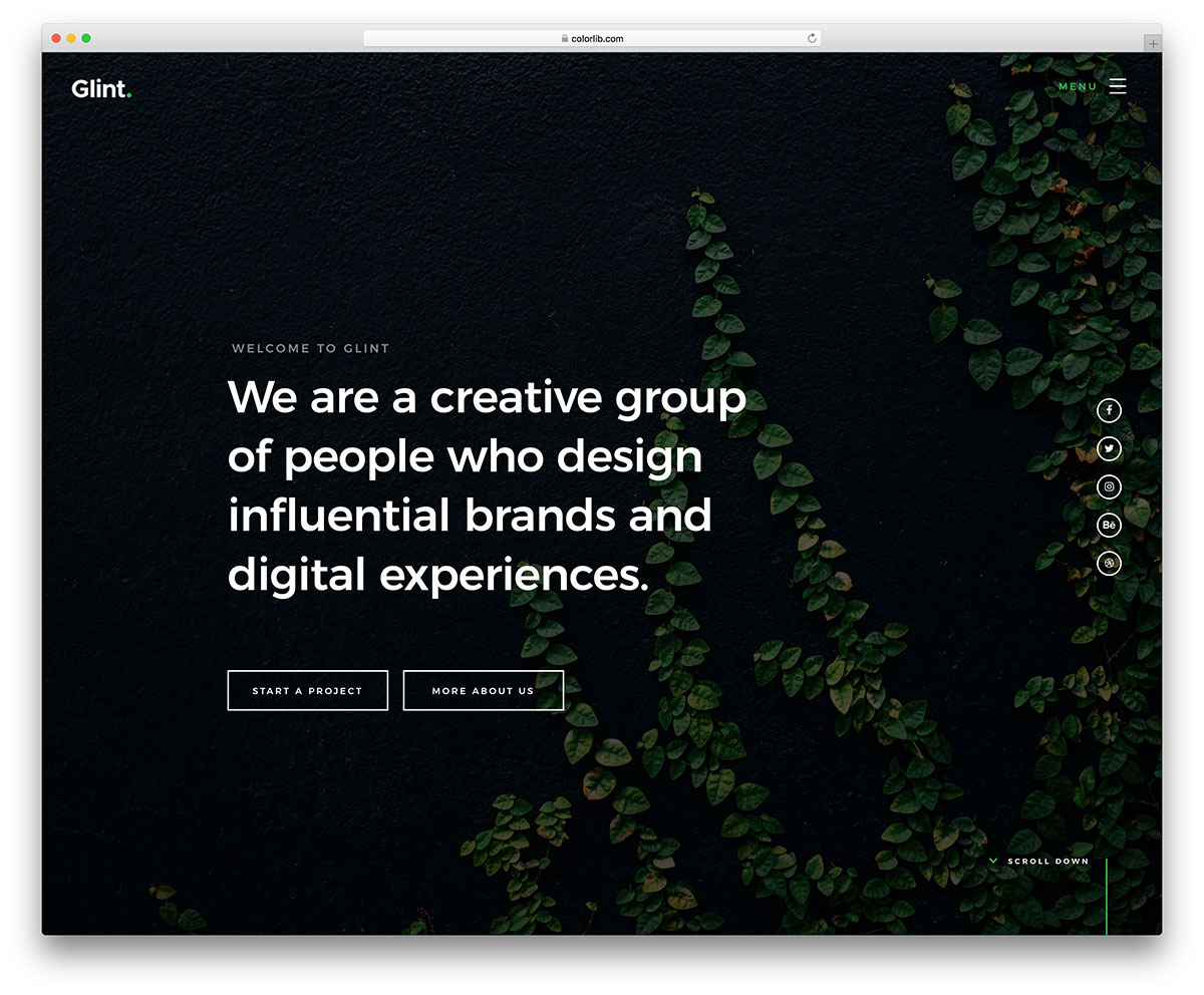 glint free mobile-friendly website template