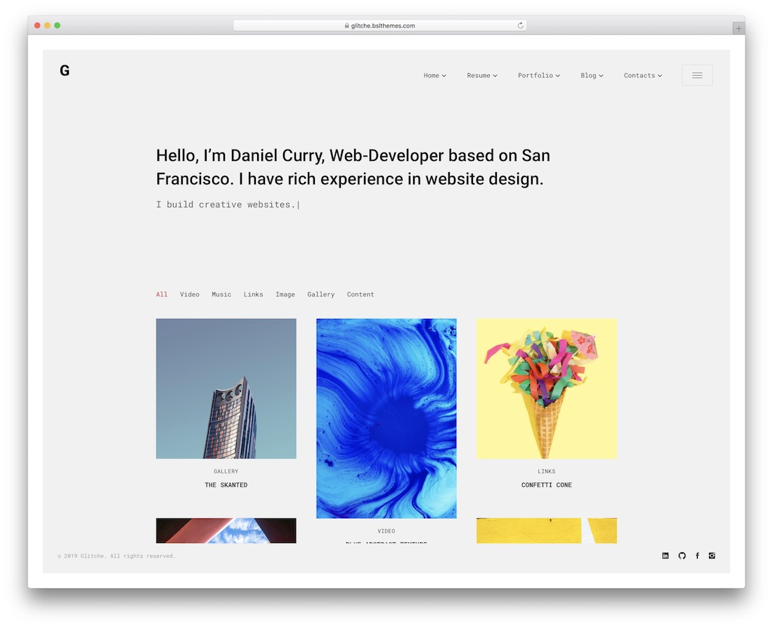 glitche vcard resume wordpress theme