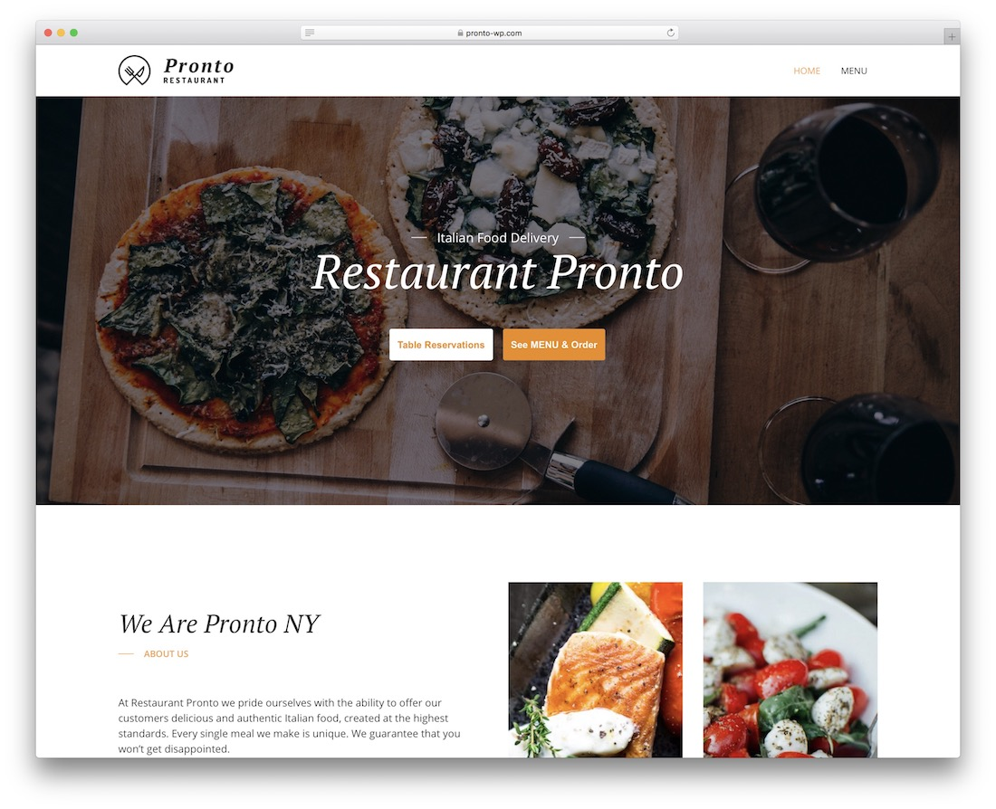 gloriafood free restaurant wordpress theme