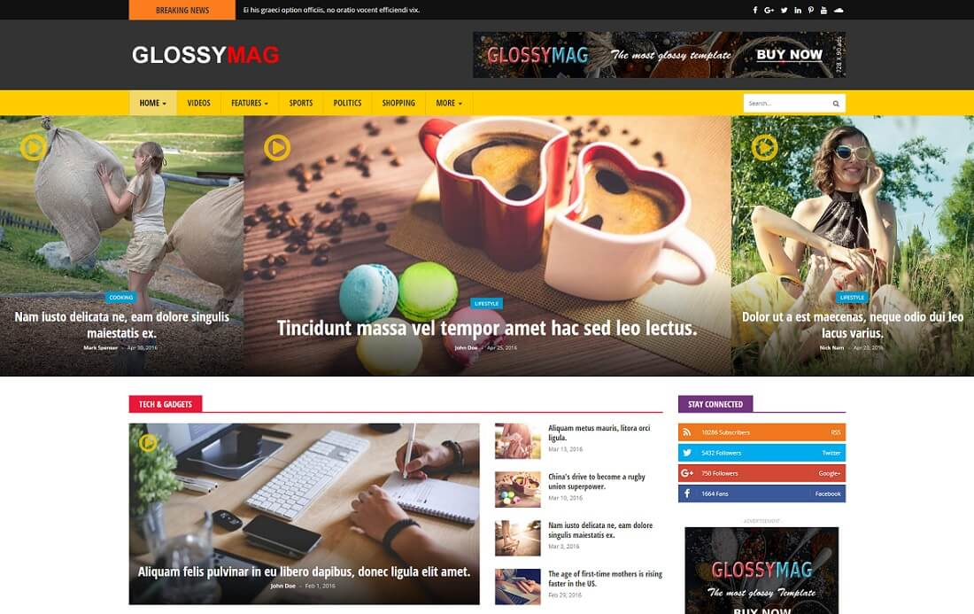 glossy mag video website template