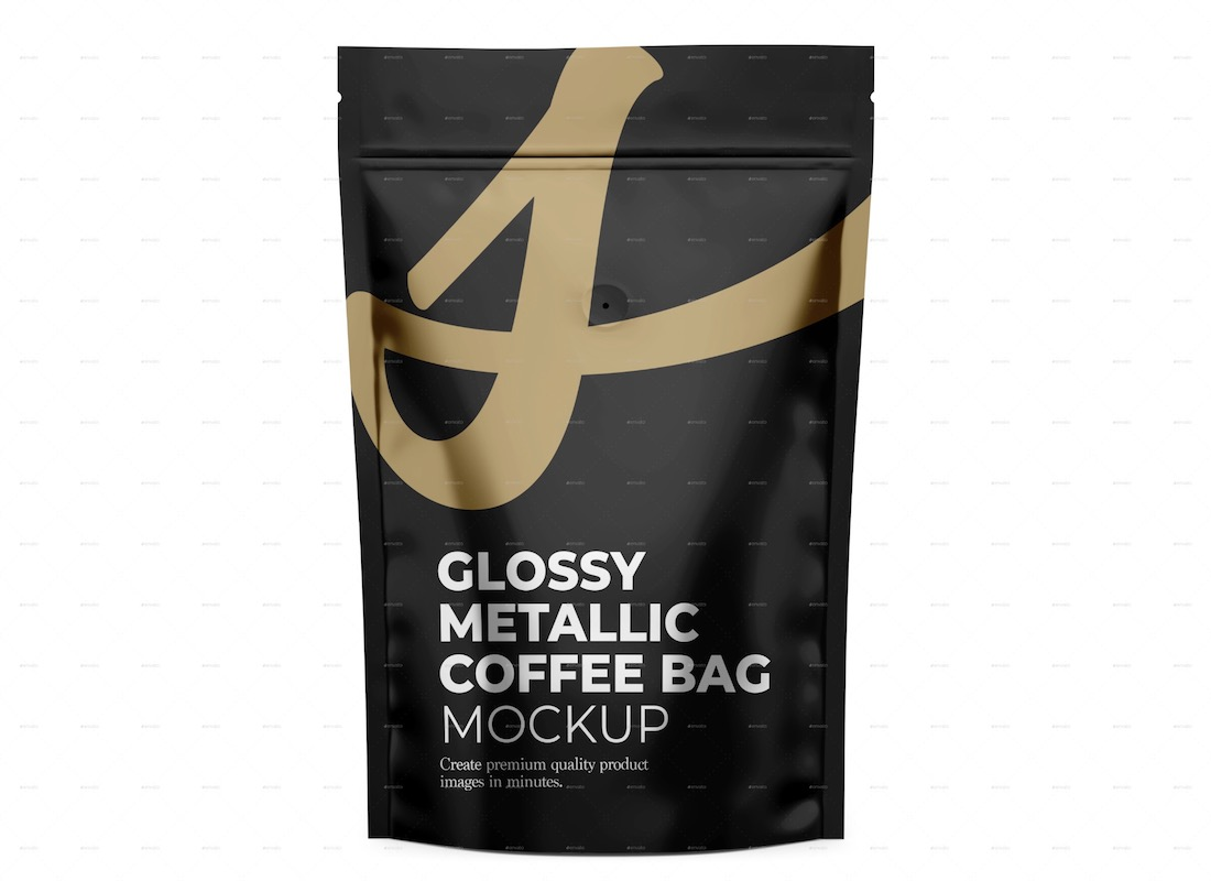 glossy metallic coffee bag mockup