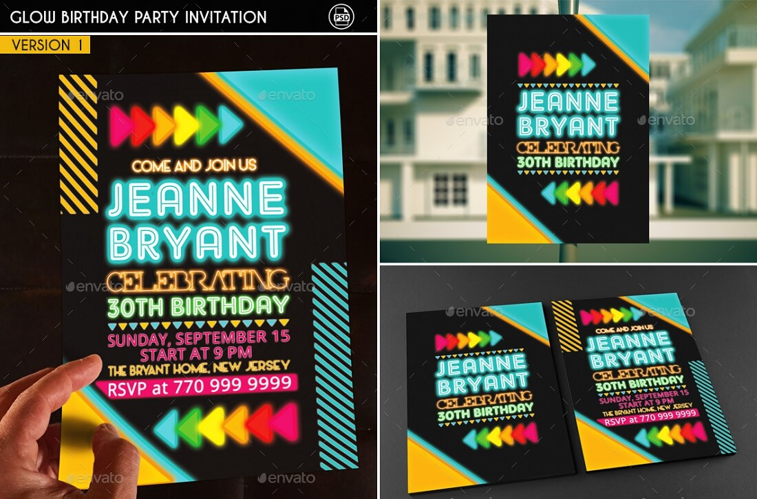 17 best editable party invitation templates in 2017 colorlib glow birthday party invitation template stopboris Gallery