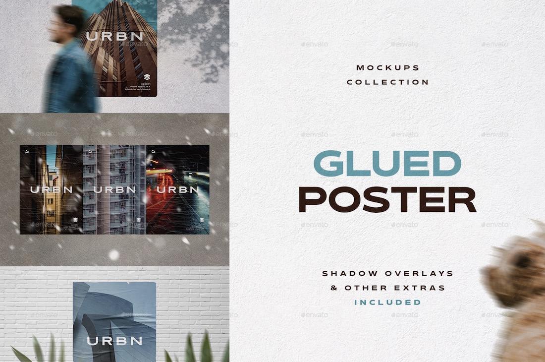 glued poster mockups collection