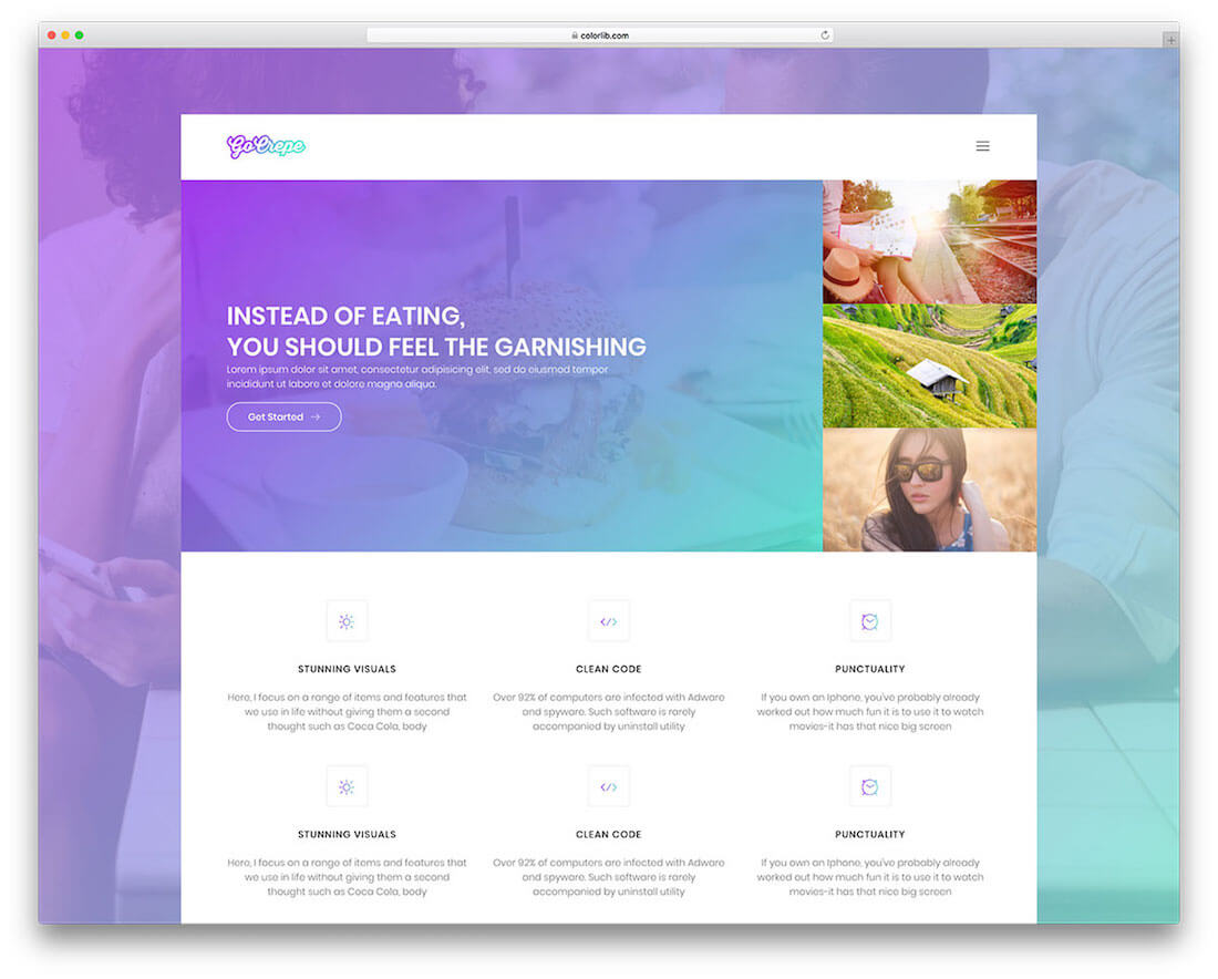go crepe free photography website template
