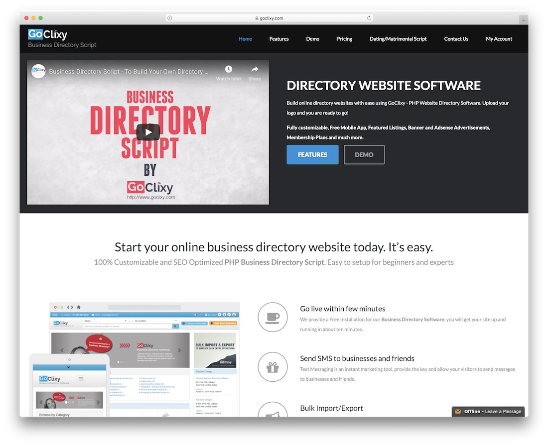 goclixy directory website builder