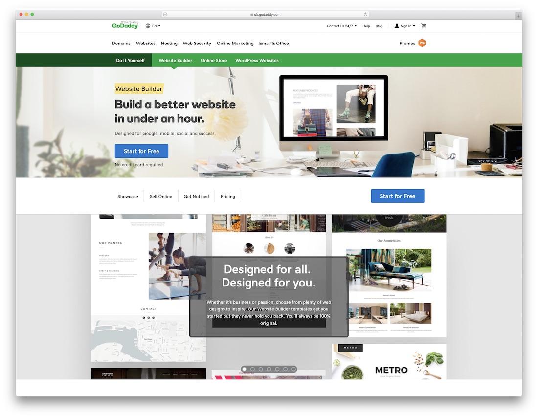 godaddy beginner website builder