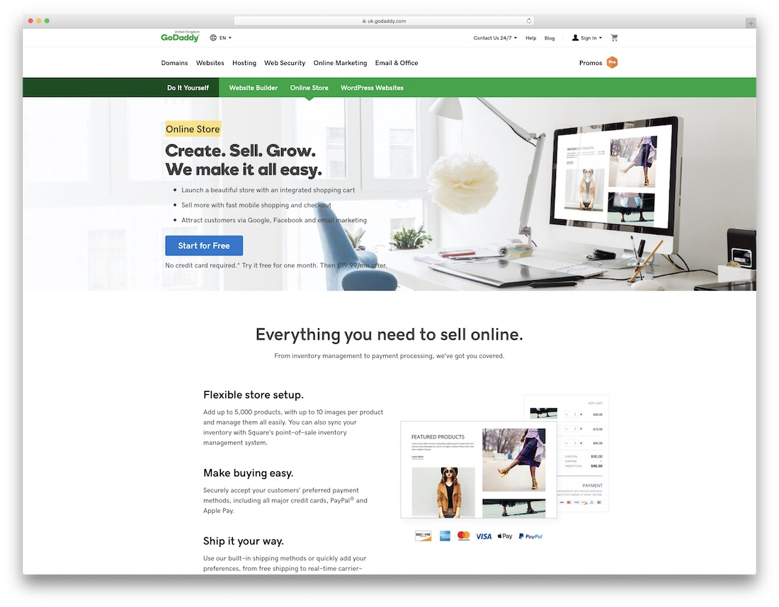 godaddy clothing website builder
