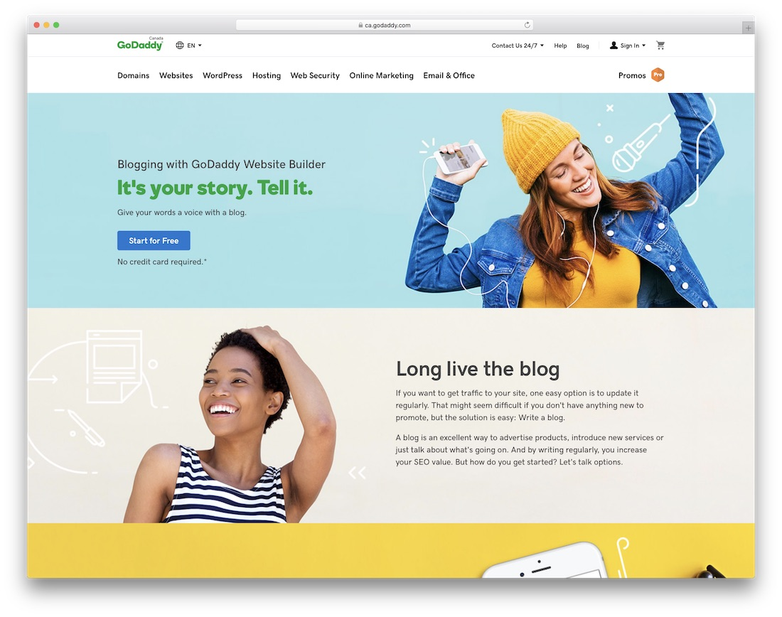 godaddy website builder for blogs