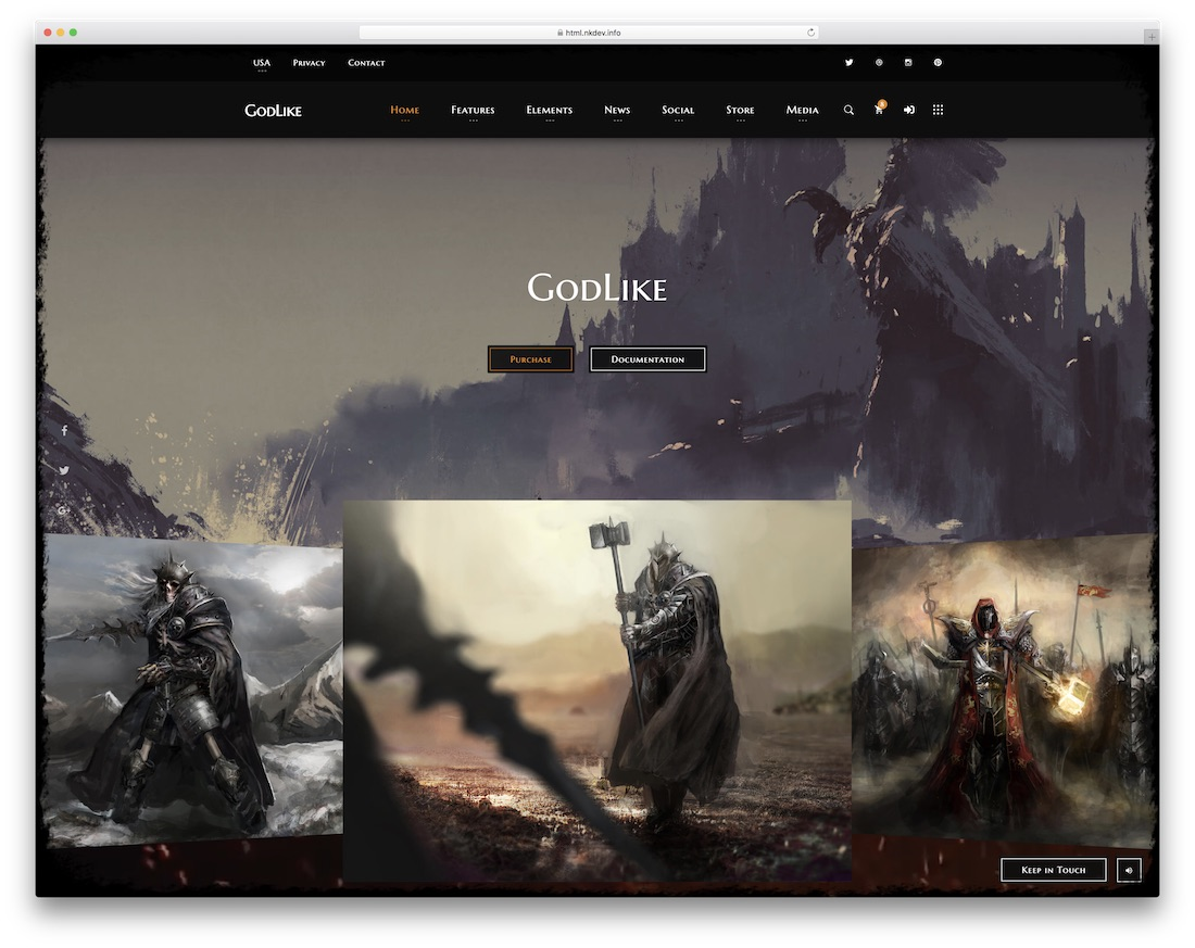 godlike gaming website template