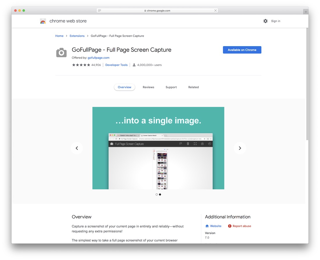 gofullpage chrome extension