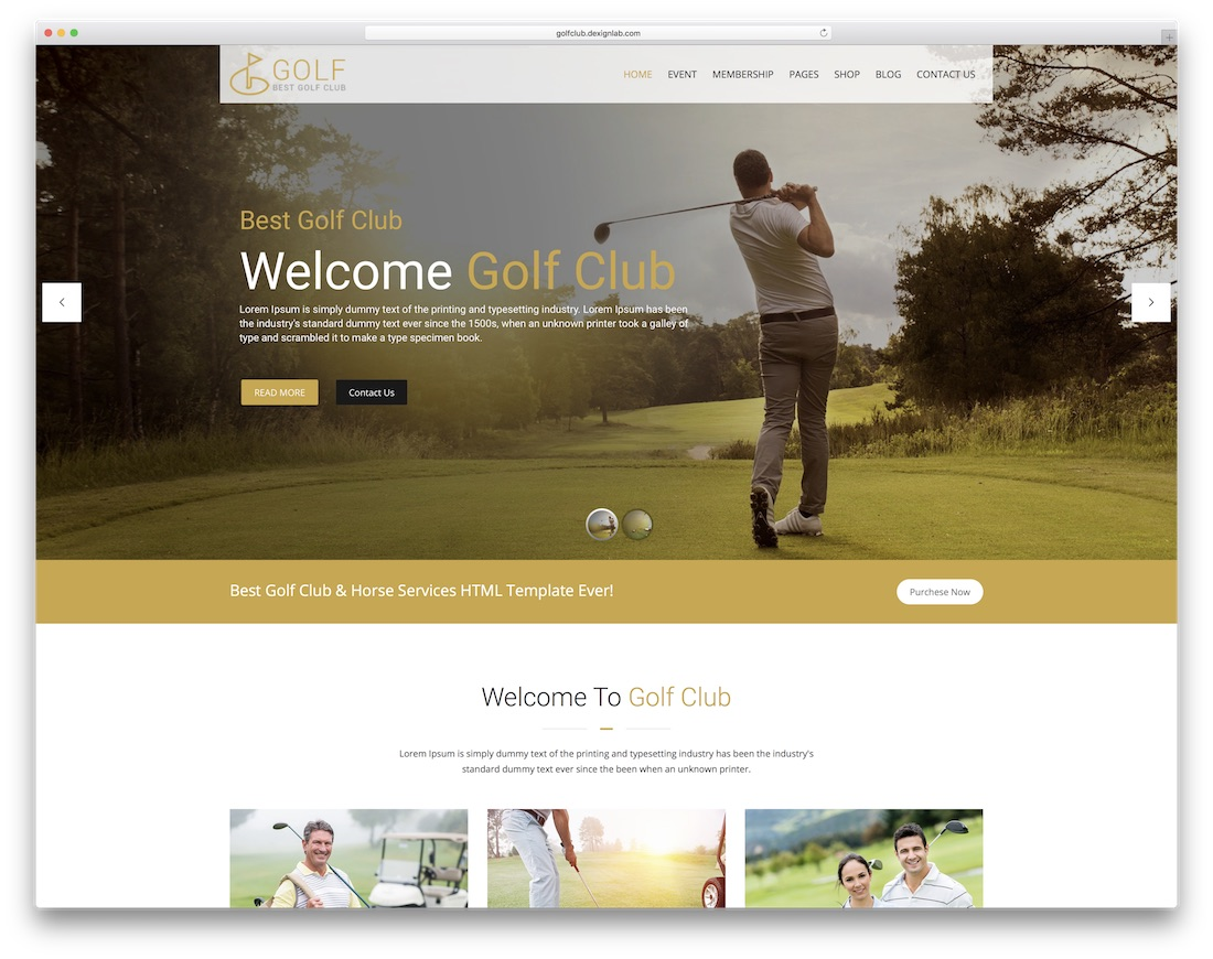golf club community website template