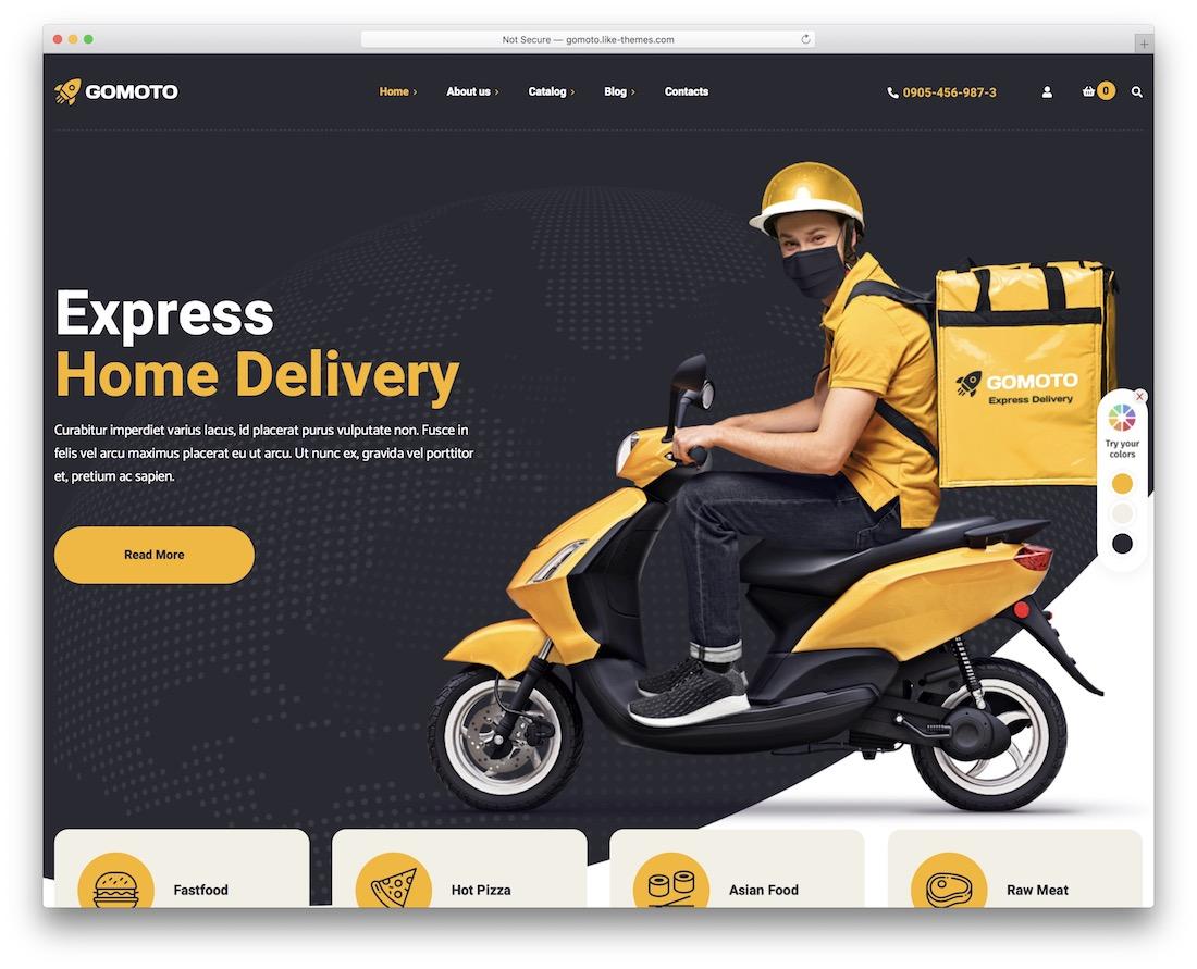 gomoto food delivery wordpress theme