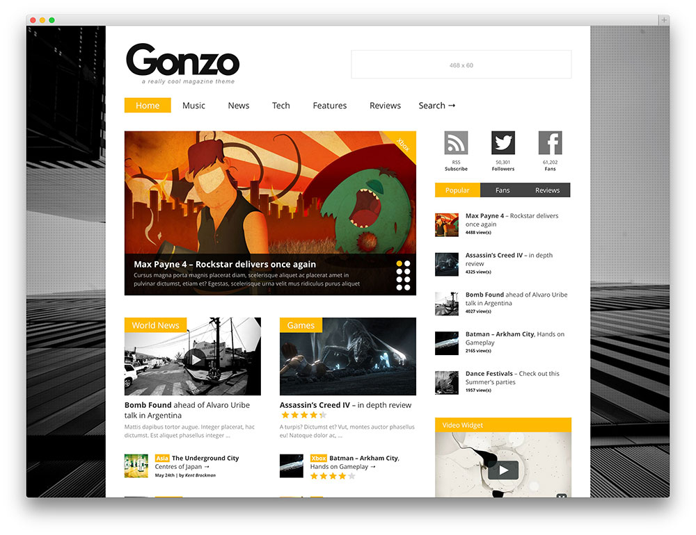 gonzo - classic tech review theme