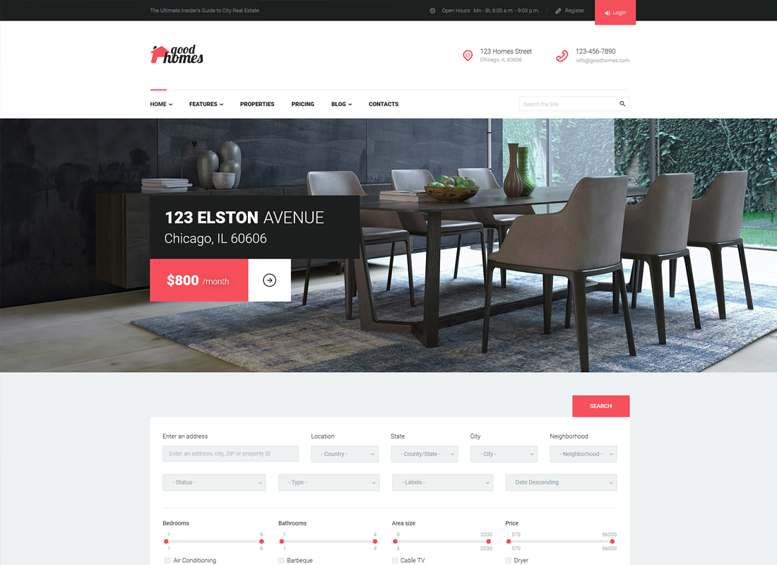 Good Homes   A Contemporary Real Estate WordPress Theme