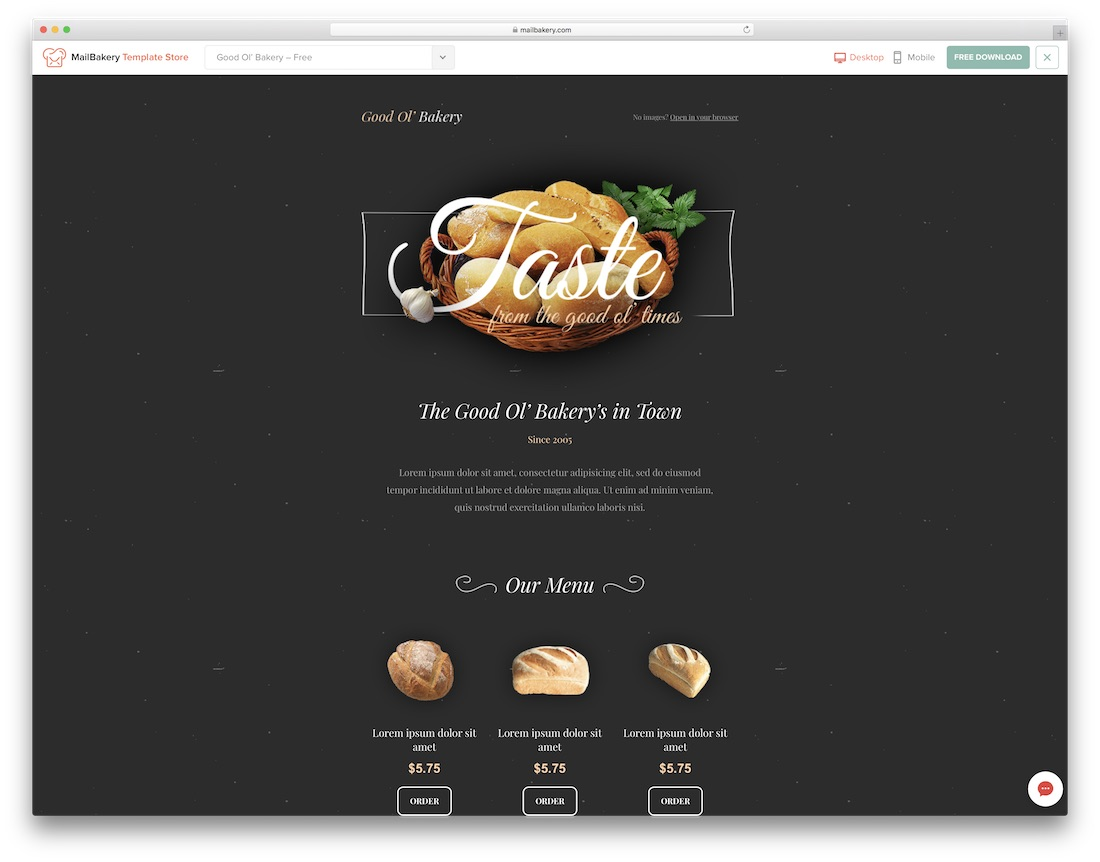 good ol bakery responsive html email template
