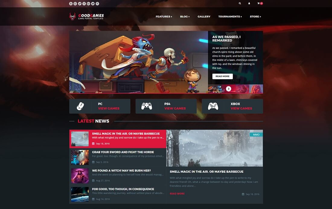 goodgames gaming HTML website template