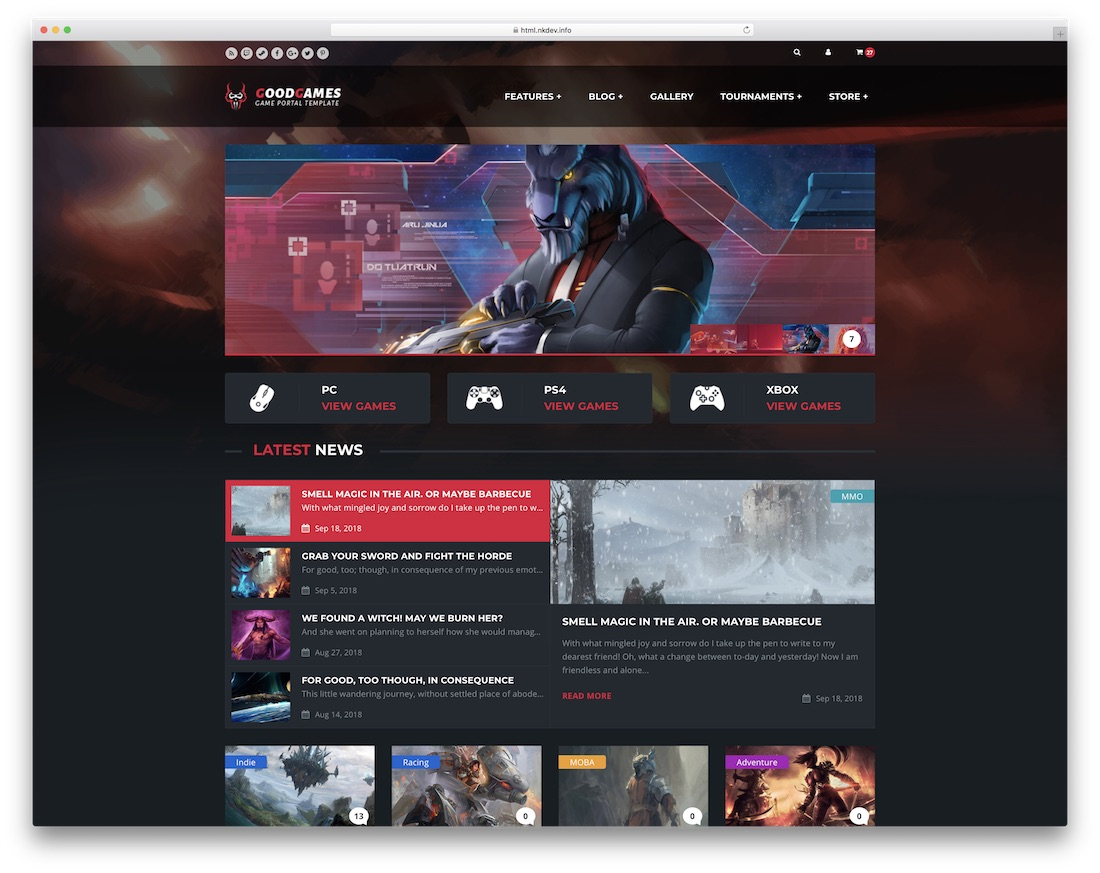 Best Gaming HTML Website Templates Colorlib - Clan website templates
