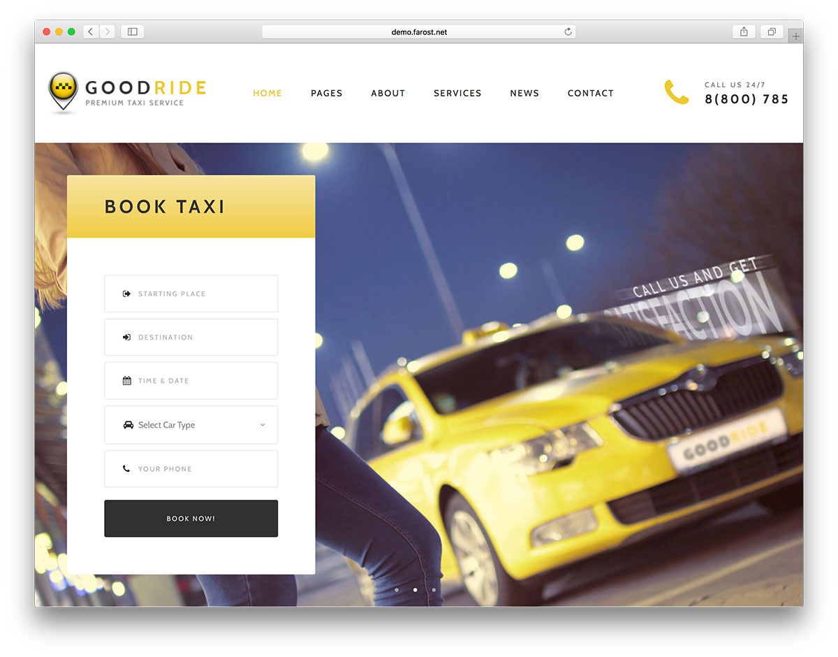 10 Premium WordPress Templates for Taxi and Car Rental Services ...